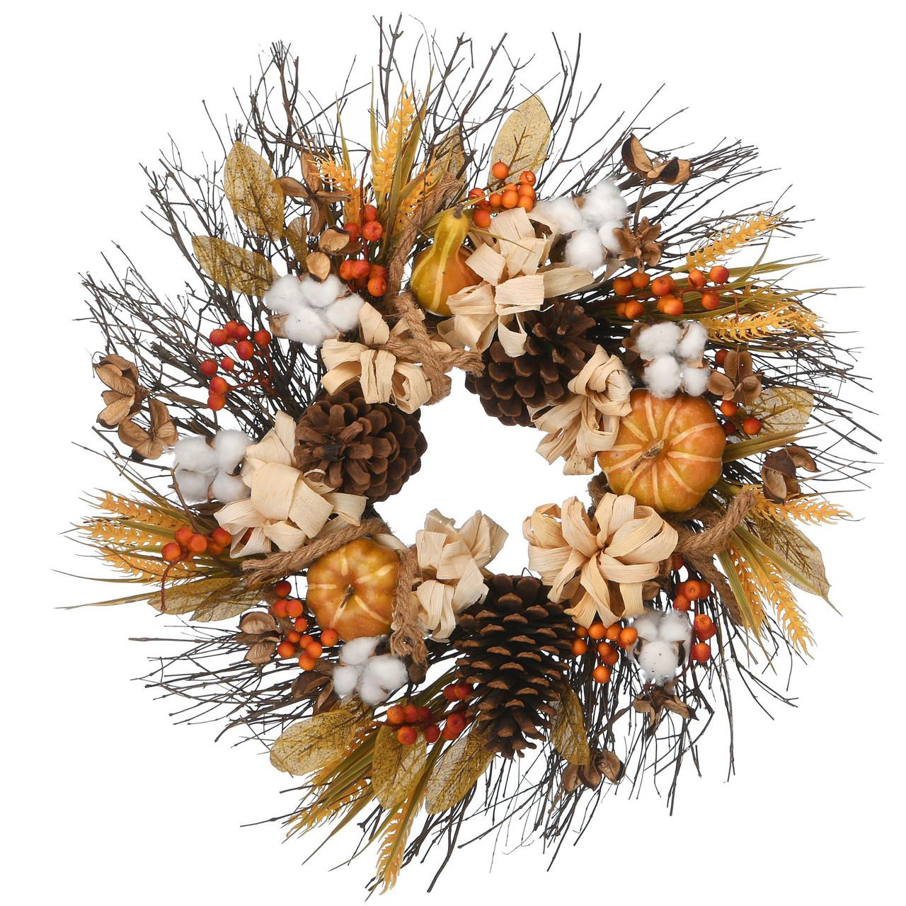 Pinenut Artificial Thanksgiving Wreath 22 Inch Unlit Christmas Central
