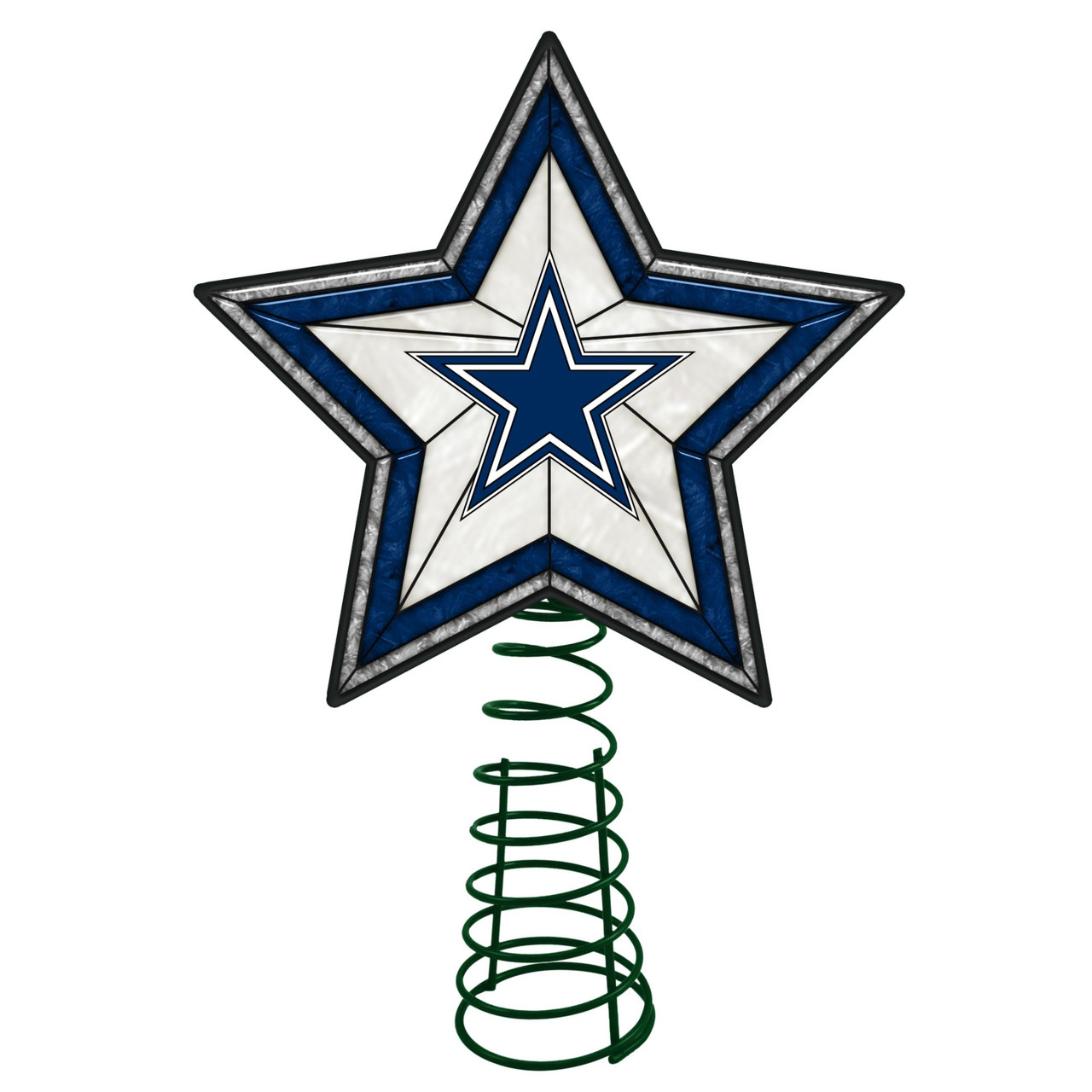 10 Lighted Nfl Dallas Cowboys Christmas Tree Topper Blue White Star Christmas Central