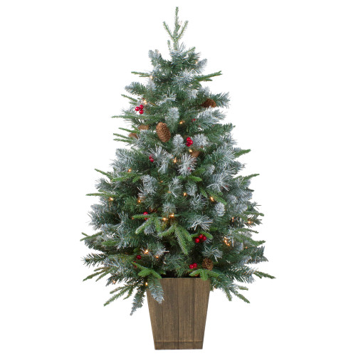 4' Pre-Lit Frosted Mixed Berry Pine Artificial Christmas Tree in Pot - Clear Lights - IMAGE 1