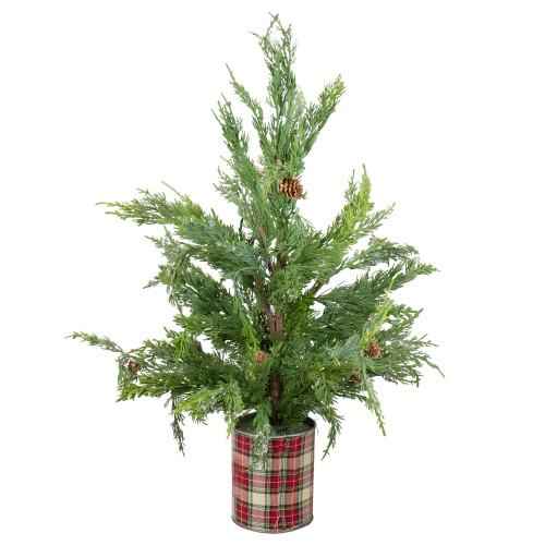 "24"" Iced Cedar Artificial Christmas Tree in Plaid Pot - Unlit - IMAGE 1"