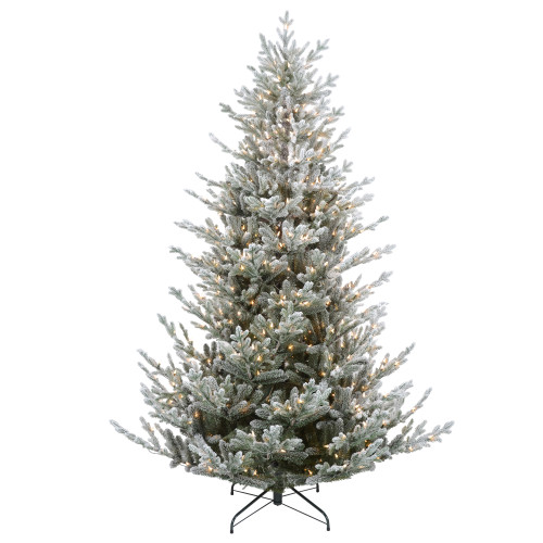 7.5' Pre-Lit Flocked Little River Fir Artificial Christmas Tree - Clear Lights - IMAGE 1
