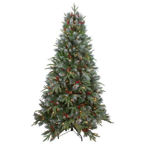 7ft Pre-Lit Frosted Mixed Berry Pine Artificial Christmas Tree - Clear Lights - IMAGE 1