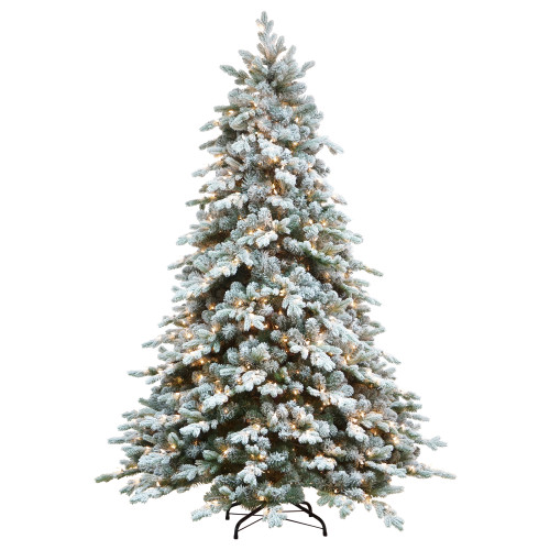 6.5' Pre-Lit Flocked Saratoga Spruce Artificial Christmas Tree - Clear Lights - IMAGE 1