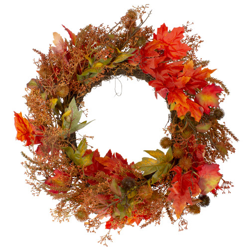 24-Inch Autumn Harvest Maple Leaf with Berries Artificial Wreath; Unlit - IMAGE 1