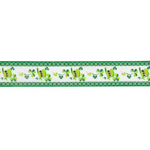 """St. Patrick's Day Shamrock  and Hat Wired Spring Craft Ribbon 2.5"""" x 10 Yards - IMAGE 1"""