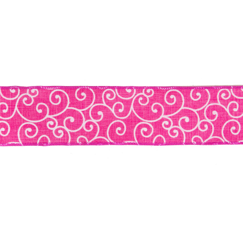 """Pink and White Swirl Wired Spring Craft Ribbon 2.5"""" x 10 Yards - IMAGE 1"""