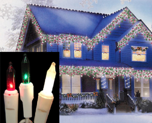 100 Red, Green and Frosted Clear Everglow Icicle Christmas Lights - White Wire - IMAGE 1
