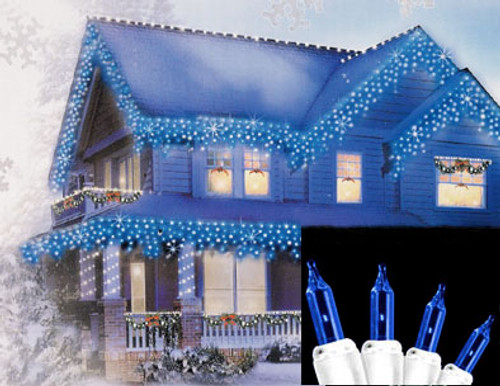 Set of 100 Blue Everglow Icicle Christmas Lights - White Wire - IMAGE 1