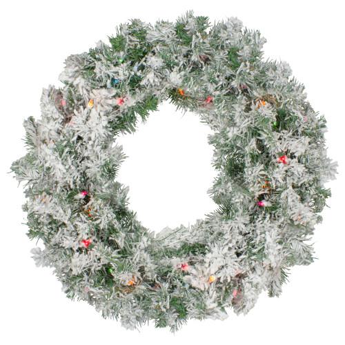 "Pre-lit Heavily Flocked Artificial Christmas Wreath - 24"", Multi Lights - IMAGE 1"