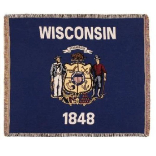 White and Blue Tapestry Flag of Wisconsin - IMAGE 1