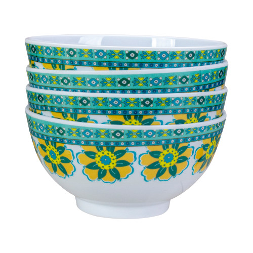 Set of 4 White, Blue and Yellow Floral Melamine Soup Bowls - IMAGE 1
