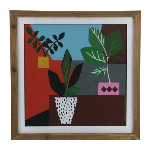 """16"""" Multi-Color Geometric Potted Plants Framed Wall Art - IMAGE 1"""