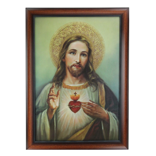 """27.75"""" Framed Celestial Jesus Christ and Sacred Heart Hanging Portrait Art - IMAGE 1"""