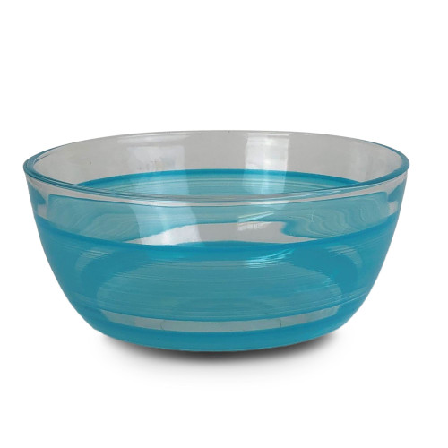 """Set of 2 Blue and Clear Contemporary Retro Striped Glass Serving Bowls 6"""" - IMAGE 1"""