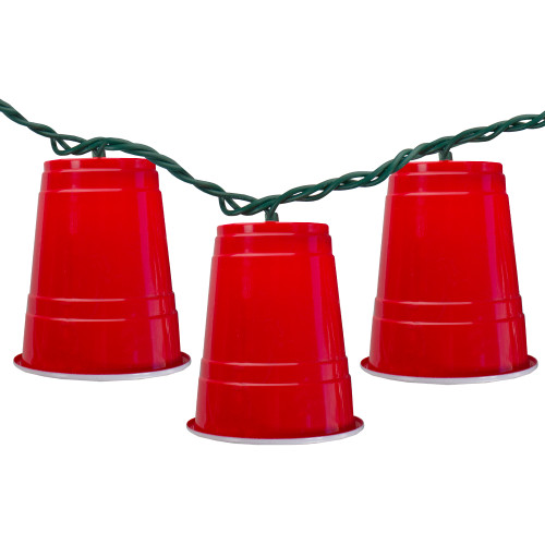 10 Count Red Party Cup Summer Novelty String Lights, 6 ft Green Wire - IMAGE 1