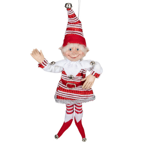 """13"""" Red and White Peppermint Striped Elf with Jingle Bells - IMAGE 1"""