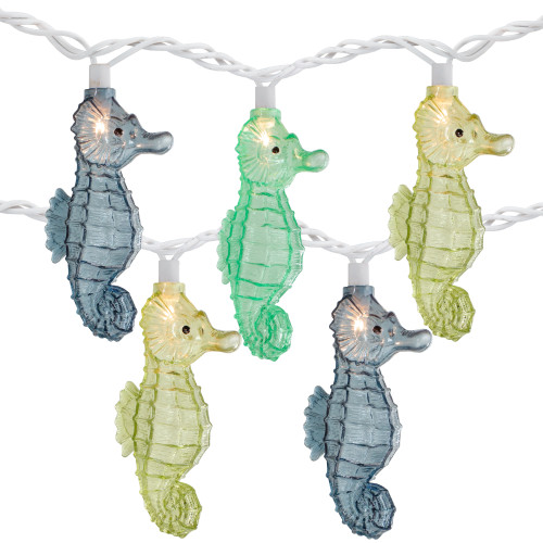 10 Count Blue and Green Seahorse Novelty String Lights, 6.5 ft White Wire - IMAGE 1