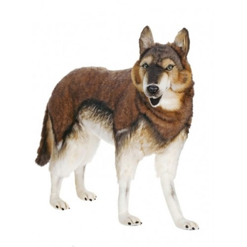 "Life-like Handcrafted Extra Soft Plush Standing Timber Wolf Stuffed Animal 30.75"" - IMAGE 1"