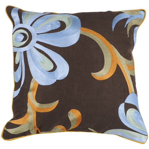 """22"""" Brown and Blue Contemporary Square Throw Pillow - IMAGE 1"""