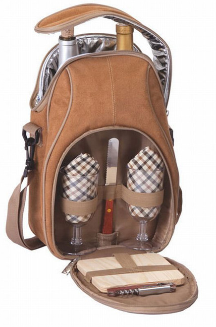 Insulated Romantic Wine and Cheese Picnic Bag Carrier Holds 2 Bottles - Camel - IMAGE 1