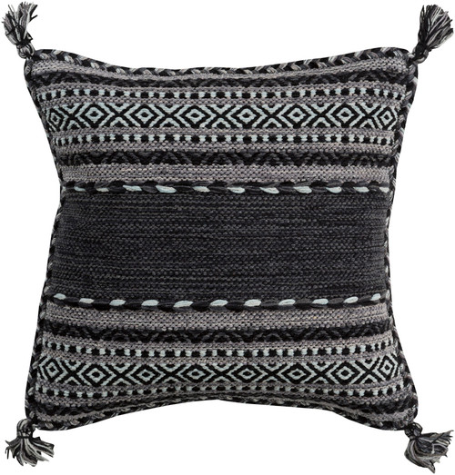 """22"""" Black and Gray Woven Square Throw Pillow - Down Filler - IMAGE 1"""