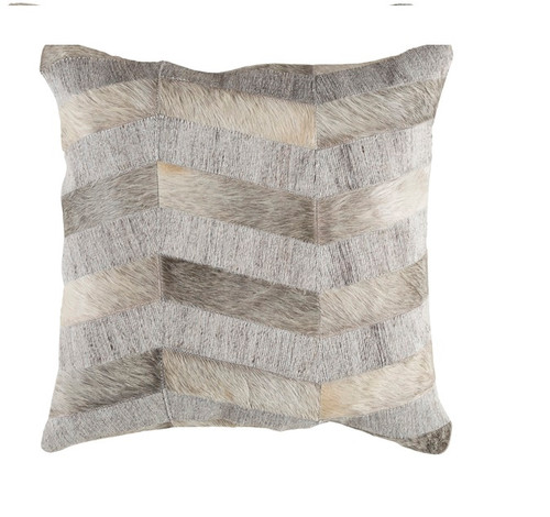 """18"""" Gray and White Rustic Square Throw Pillow - Down Filler - IMAGE 1"""