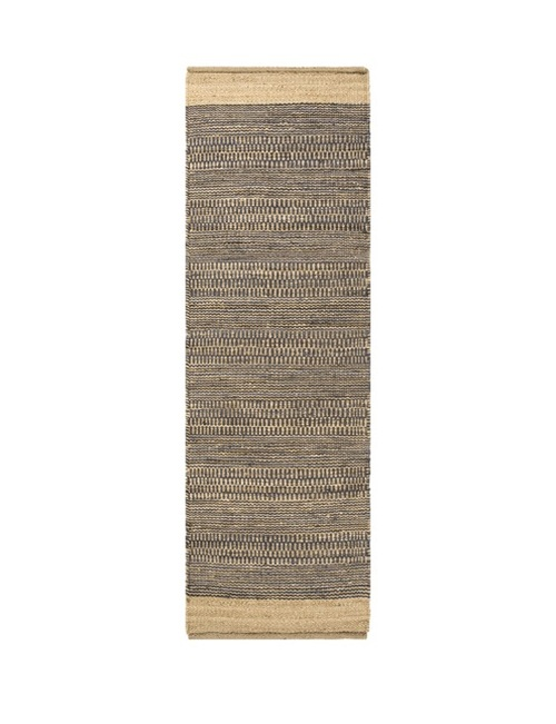 2.5' x 8' Blue and Brown Contemporary Hand Woven Rectangular Area Throw Rug Runner - IMAGE 1