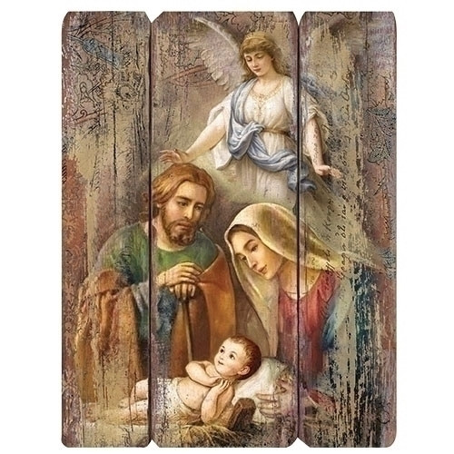 """Pack of 2 Distressed Holy Family with Angel Nativity Scene Decorative Wall Art, 17"""" - IMAGE 1"""