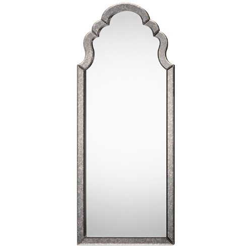5' Silver-Framed Antique Style Hand-Beveled Arched Wall Mirror - IMAGE 1