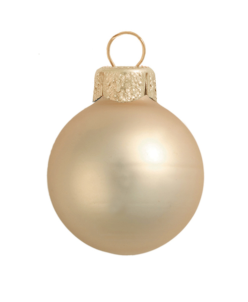 """8ct Champagne Gold Glass Matte Ball Christmas Ornaments 3.25"""" (80mm) - IMAGE 1"""