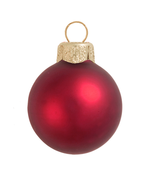 """8ct Red Xmas Matte Glass Christmas Ball Ornaments 3.25"""" (80mm) - IMAGE 1"""