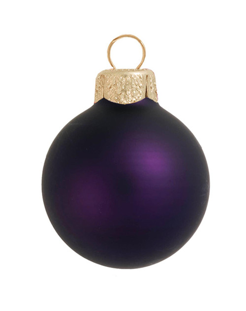 """12ct Purple and Gold Matte Glass Christmas Ball Ornaments 2.75"""" (70mm) - IMAGE 1"""