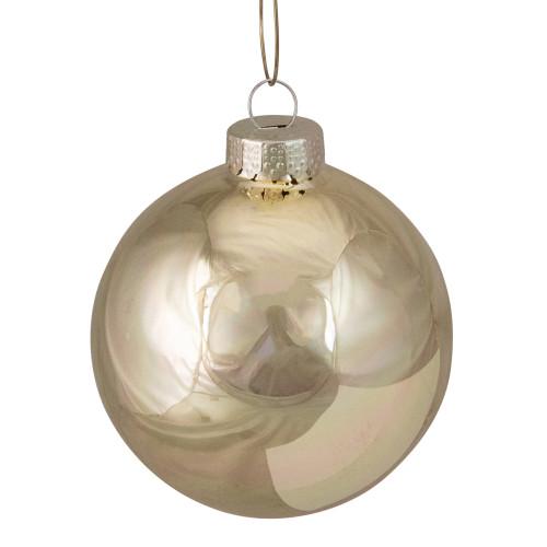 "8ct Gold Shiny Glass Christmas Ball Ornaments 3.25"" (80mm) - IMAGE 1"
