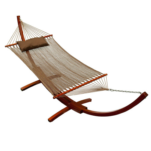 """82"""" x 55"""" Caribbean Polyester Rope Hammock and Pillow with Pine Wooden Arc Stand - IMAGE 1"""