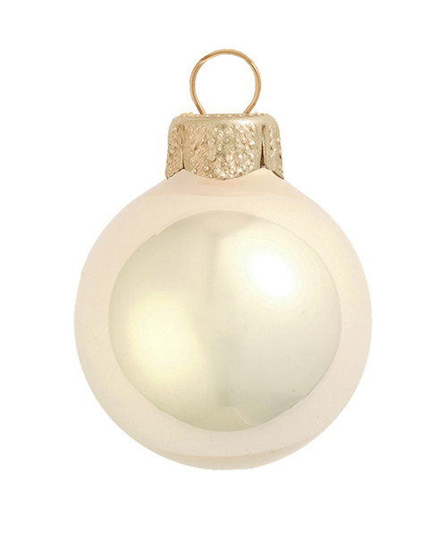 """12ct Champagne Gold Pearl Glass Christmas Ball Ornaments 2.75"""" (70mm) - IMAGE 1"""