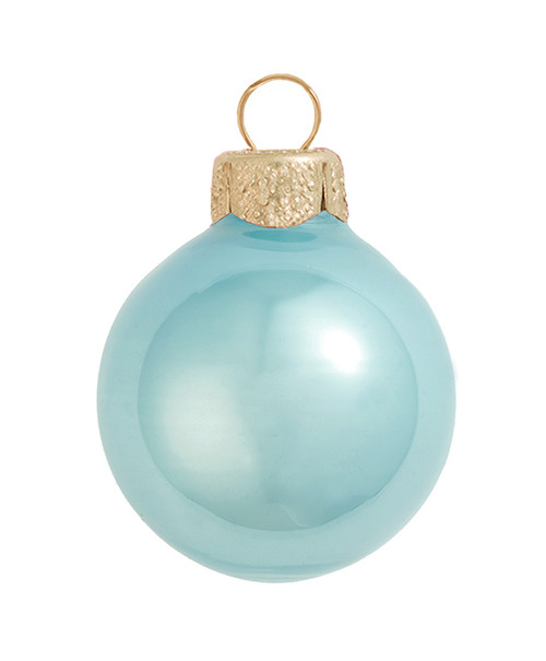 "12ct Blue Pearl Glass Christmas Ball Ornaments 2.75"" (70mm) - IMAGE 1"