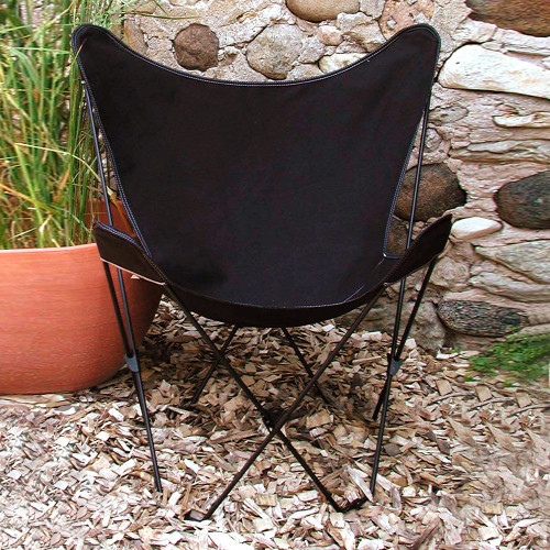 """35"""" Retro Style Outdoor Patio Butterfly Chair with Black Cotton Duck Fabric Cover - IMAGE 1"""