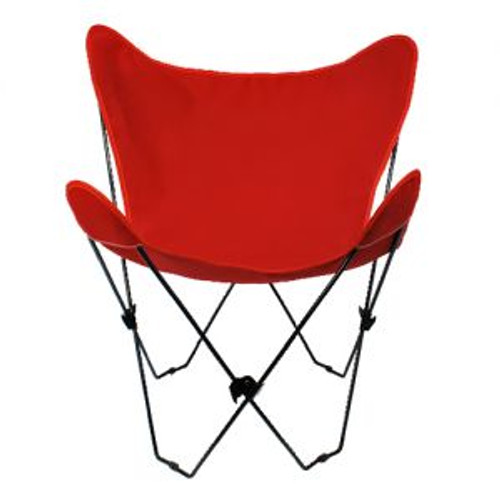 """35"""" Retro Style Outdoor Patio Butterfly Chair with Red Cotton Duck Fabric Cover - IMAGE 1"""