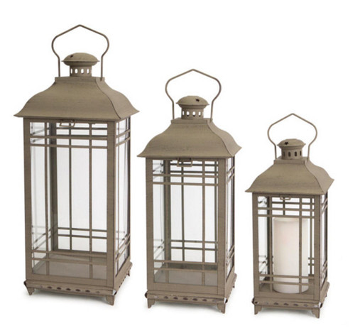 "Set of 3 Antique Mission Style Glass Pillar Candle Lanterns 20"" - IMAGE 1"