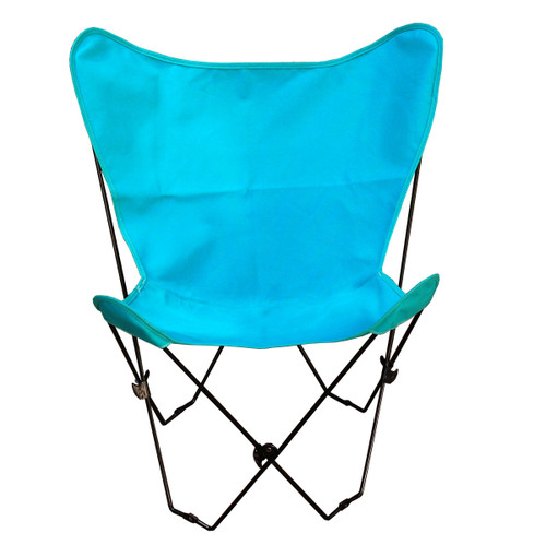 """35"""" Teal Blue Outdoor Patio Butterfly Chair and Cover Combination with White Frame - IMAGE 1"""