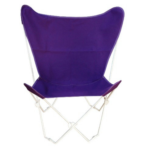 """35"""" Retro Style Outdoor Patio Butterfly Chair with Purple Cotton Duck Fabric Cover - IMAGE 1"""