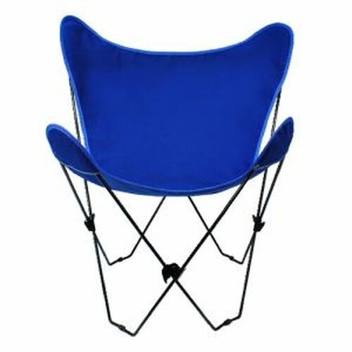 """35"""" Retro Style Outdoor Patio Butterfly Chair with Royal Blue Cotton Duck Fabric Cover - IMAGE 1"""