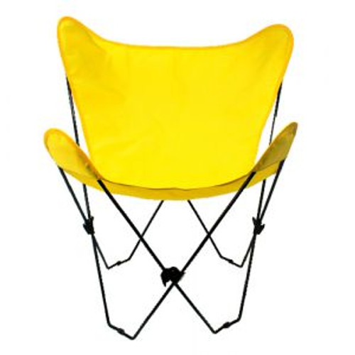 """35"""" Retro Style Outdoor Patio Butterfly Chair with Yellow Cotton Duck Fabric Cover - IMAGE 1"""