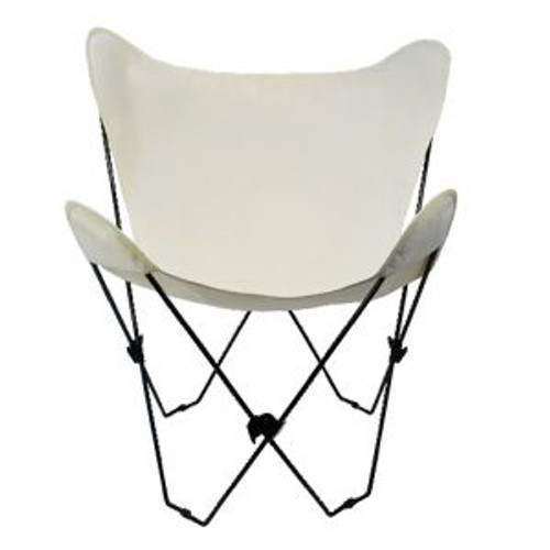 """35"""" White Natural Butterfly Chair and Cover Combination with Black Frame - IMAGE 1"""
