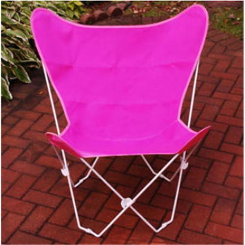 """35"""" Retro Style Outdoor Patio Butterfly Chair with Pink Cotton Duck Fabric Cover - IMAGE 1"""