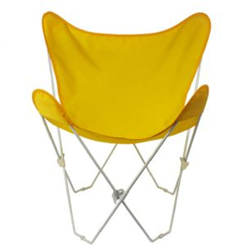 """35"""" Retro Style Outdoor Patio Butterfly Chair with Sunny Yellow Cotton Duck Fabric Cover - IMAGE 1"""