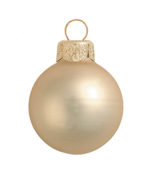 """6ct Champagne Gold Matte Glass Christmas Ball Ornaments 4"""" (100mm) - IMAGE 1"""