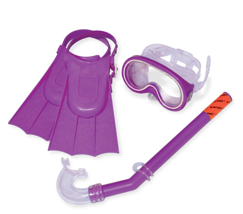 "3pc Purple and Clear Otter Child Recreational Mask, Snorkel, Fins Snorkeling Set 12.75"" - Small - IMAGE 1"