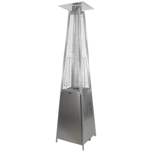 Pyramid Glass Tube Outdoor Gas Patio Heater, 44,000 BTU Stainless Steel Finish - IMAGE 1