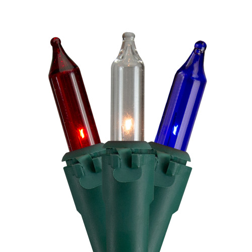 50 Count Red, White, Blue 4th of July Mini Light Set, 10 ft Green Wire - IMAGE 1